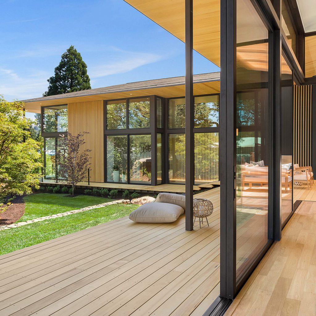 villa contemporaine bois vitrée