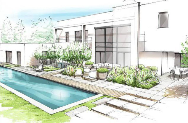 croquis villa contemporaine piscine architecte mougins